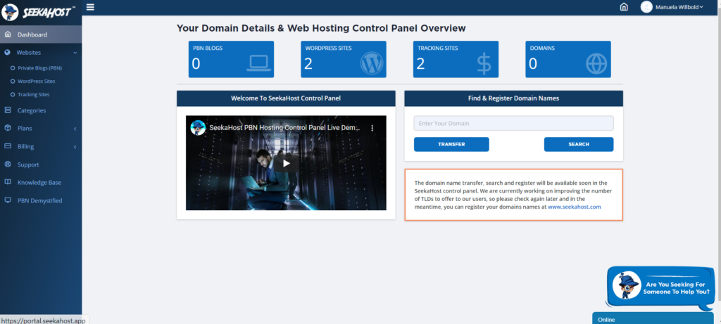 Overview-and-main-dashboard-with-seekahost-web-hosting-control-panel